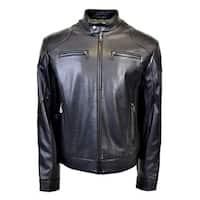 Men's Leather Standing Collar Racing Jacket