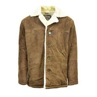 Men's Suede Button Coat with Shearling Lining