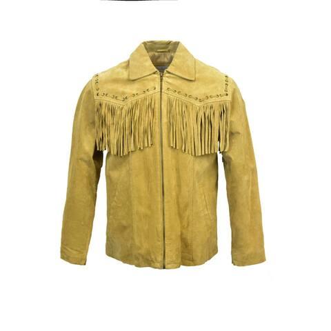 Men's Suede Fringe Zip Jacket