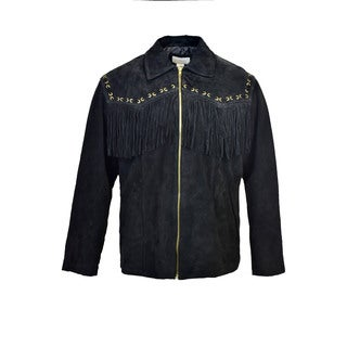 Men's Suede Fringe Zip Jacket