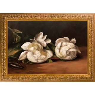Edouard Manet 'Branch Of White Peonies' Hand Painted Framed Oil Reproduction on Canvas