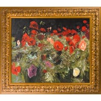 John Singer Sargent 'Poppies' Hand Painted Framed Oil Reproduction on Canvas