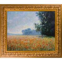 Claude Monet 'Oat Fields' Hand Painted Framed Oil Reproduction on Canvas