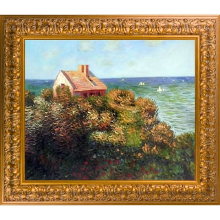 Claude Monet 'Fishermans Cottage At Varengeville' Hand Painted Framed Oil Reproduction on Canvas