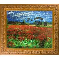 Vincent Van Gogh 'Field of Poppies' Hand Painted Framed Oil Reproduction on Canvas