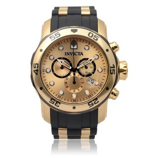Invicta Men's 17885 'Pro Diver' Blemished Goldtone Stainless Steel Chronograph Dial Black Strap Watch