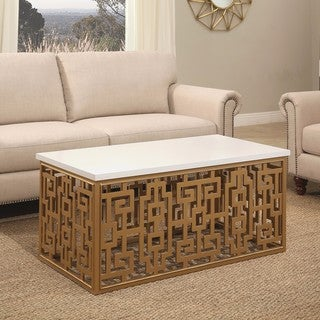 Shop Abbyson Marseille Gold Rectangle Coffee Table On