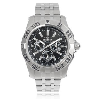 Invicta Men's 7301 'Signature' Blemished Stainless Steel Black Chronograph Dial Link Bracelet Watch