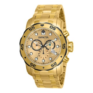 Invicta Men's 80070 'Pro Diver' Blemished Goldtone Stainless Steel Chronograph Dial Link Bracelet Watch