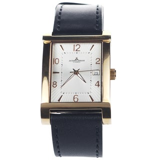 Jacques Lemans Men's 1-1297C Blemished Rose Goldtone IP Stainless Steel White Dial Leather Strap Watch