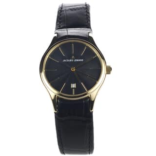 Jacques Lemans Women's 1-1425J Blemished Goldtone Stainless Steel Black Dial Leather Strap Watch|https://ak1.ostkcdn.com/images/products/15293091/P21761025.jpg?impolicy=medium
