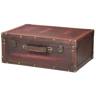 Vintiquewise Cherry Wooden Vintage-style Suitcase with Leather Trim