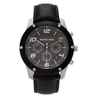 Michael Kors Men's MK8488 'Caine' Blemished Stainless Steel Gray Chronograph Dial Black Leather Strap Watch