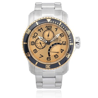 Invicta Men's 15337 'Pro Diver' Blemished Two Tone Stainless Steel Multifunction Dial Link Bracelet Watch