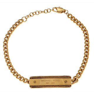 Michael Kors Blemished Goldtone Stainless Steel Plaque Cable Chain Bracelet