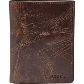 Fossil Derrick Dark Brown Leather RFID International Combination Bifold Wallet