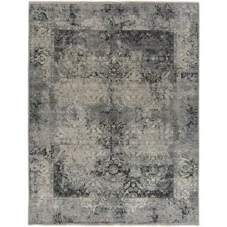 Theodora Grey Wool Damask Hand-tufted Area Rug (6' x 9') - 6' x 9'