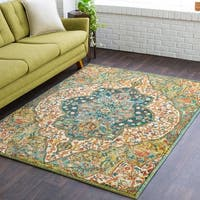 "Carlie Boho-Chic Green Medallion Area Rug - 5'3"" x 7'3"""