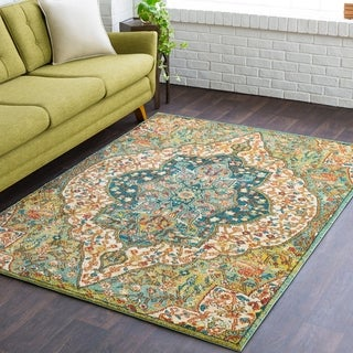 Carlie Boho-Chic Green Medallion Area Rug - 5'3 X 7'3