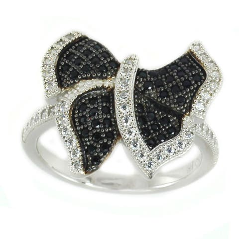 Gems en Vogue Sterling Silver Pave Butterfly Black & White Cubic Zirconia Ring
