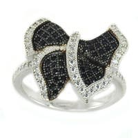 Michael Valitutti Sterling Silver Pave Butterfly Black & White Cubic Zirconia Ring