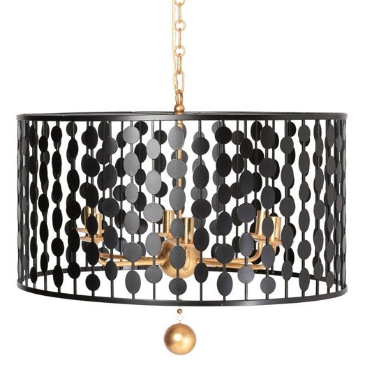 Crystorama Layla Collection 6-light Black/Antique Gold Chandelier