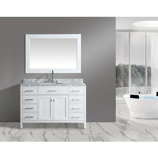 Design Element London White 54 Inch Single Sink Vanity Set With Mirror