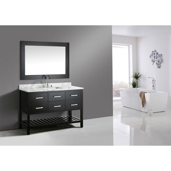 London Espresso 54-inch Single-sink Mirror Vanity Set