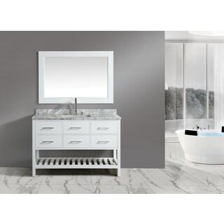 London White 54-inch Single-sink Mirror Vanity Set