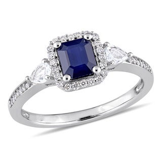Miadora Signature Collection 14k White Gold Octagon and Pear-cut Blue and White Sapphire Halo Engagement Ring