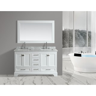 Design Element Omega White 61-inch Double-sink Vanity Set with Mirror