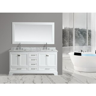 Design Element Omega White 72-inch Double Sink Vanity Set With Mirror