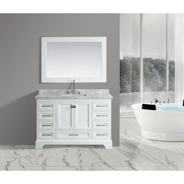 Shop Omega White 54 Inch Single Sink Mirror Vanity Set Free