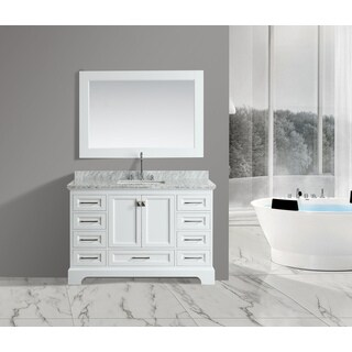 Omega White 54-inch Single-sink Mirror Vanity Set
