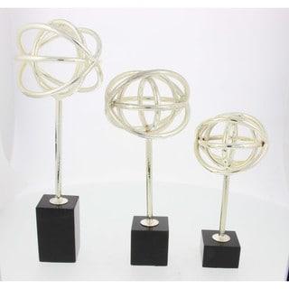 Benzara Silver Metal Marble Sculptures (Set of 3)