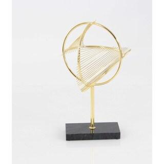 Benzara Stylish Gold Iron Metal and Marble Sculpture