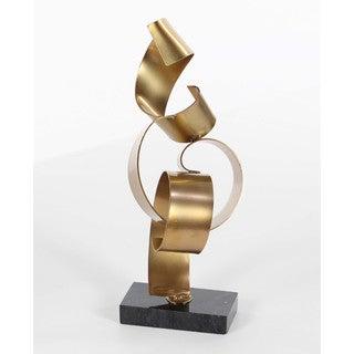 Benzara Gold Finish Metal Marble Sculpture