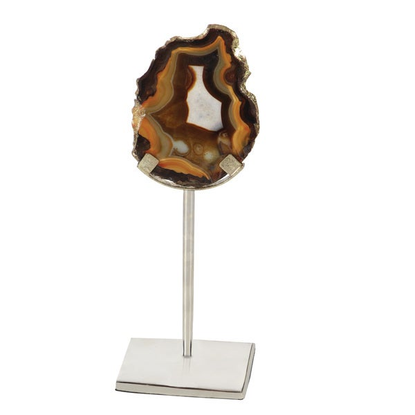 Scintillating Silver Metal Agate Sculpture