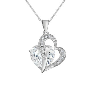 Sterling Silver Cubic Zirconia Heart Pendant Necklace 18