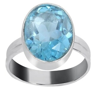 Orchid Jewelry Silver Overlay 5 1/5 Carat Blue Topaz Birthstone Ring