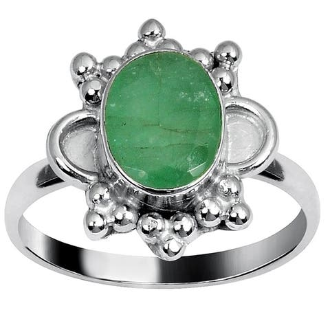 Emerald Brass Oval Fashion Ring By Orchid Jewelry