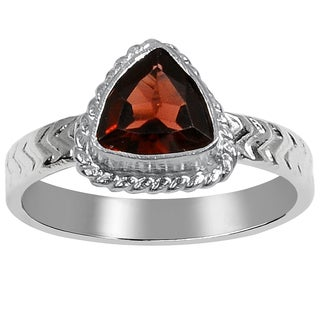Orchid Jewelry 1 1/5 Carat Garnet Silver Overlay Birthstone Ring