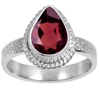 Orchid Jewelry 1 2/5 Carat Garnet Silver Overlay Gemstone Fashion Ring