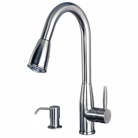 Builders Shoppe 16-inch Contemporary Single-handle Pull-down Kitchen Faucet with Soap/Lotion Dispenser