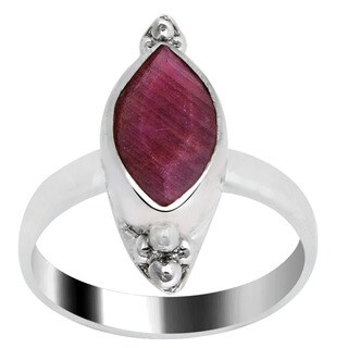 Orchid Jewelry Silver Overlay 2 1/5 Carat Ruby Marquise Shape Jewelry Ring