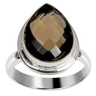 Orchid Jewelry Silver Overlay 9 2/3 Carat Smoky Quartz Handmade Fashion Ring