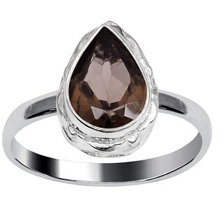 Orchid Jewelry Silver Overlay 1 1/2 Carat Smoky Quartz Fashion Ring