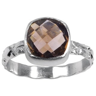 Orchid Jewelry Silver Overlay 3 1/9 Carat Smoky Quartz Fashion Ring