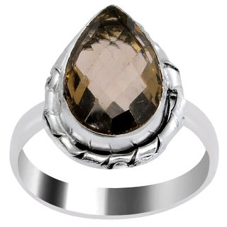 Orchid Jewelry 5 2/7 Carat Smoky Quartz Pear Shape Silver Overlay Fashion Ring