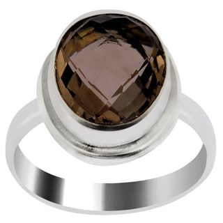 Orchid Jewelry 4 Carat Smoky Quartz Silver Overlay Fashion Ring
